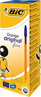 BIC Orange Original Fine Ballpoint Pens Fine Point (0.8 mm) - Blue, Box of 20