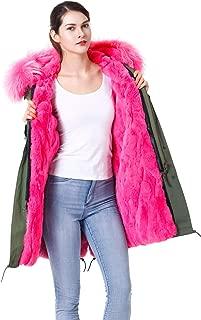 Women Real Rabbit Fur Parka Upscale Long Hooded Coat Detachable Jacket Real Fur Liner