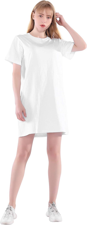 Largas Camisetas Mujer Verano Algodón Blanca Negro Noche Vestido Camisón Túnica Camisas Tops Tallas Grandes Oversize