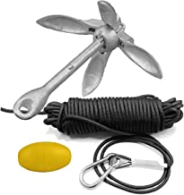 Abimars Marine Anchor Accessories, 3.5 lb Folding Anchor Grapnel +65 FT Marine Rope Buoy and Snap Hook for Kayak Fishing, Canoe, Jet Ski, SUP Paddle Board and Small Boat