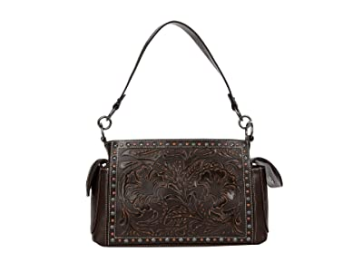 M&F Western Blaire Large Satchel (Brown) Handbags