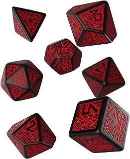 Q WORKSHOP Dwarven Black & red RPG Ornamented Dice Set 7 Polyhedral Pieces