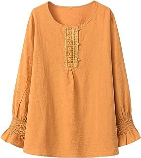 Minibee Women's Cotton Tunic Blouse Long Sleeve Shirt Tops with Ruffle Sleeve