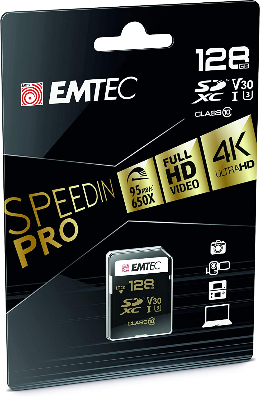 Emtec SPEEDIN Class 10 UHS-1 U3 V30 SD Memory Card (128GB)