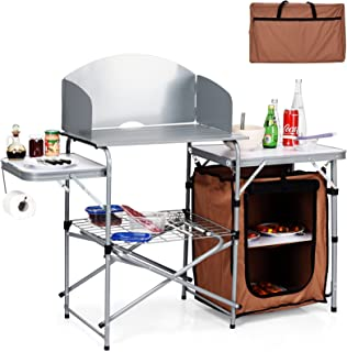 Giantex Folding Grill Table with 26'' Tabletop and Detachable Windscreen, Aluminum Portable Camp Cook Station with Carry B...