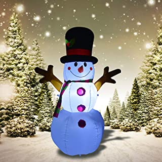 GOOSH 5 Foot Tall Inflatable Snowman Christmas Masters Inflatable Snowman with Branch Hand LED Lights Indoor-Outdoor Yard Lawn Decoration - Cute Fun Xmas Holiday Blow Up Party Display
