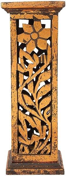 Storeindya Incense Holders And Burners Wooden Incense Stick Tower Burner Stand Holder Handmade Ash Catcher Floral Design