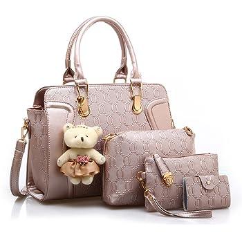 MORGLOVE New Fashion Women PU Leather Handbag Messenger Bag Shoulder Bag Tote Bag Bear Key Chain Card Purse in Gold (4 Pcs Set)