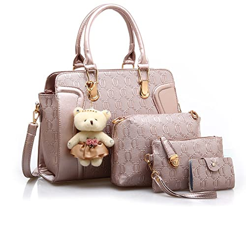3f6f416729979 MORGLOVE New Fashion Women PU Leather Handbag Messenger Bag Shoulder Bag  Tote Bag Bear Key Chain