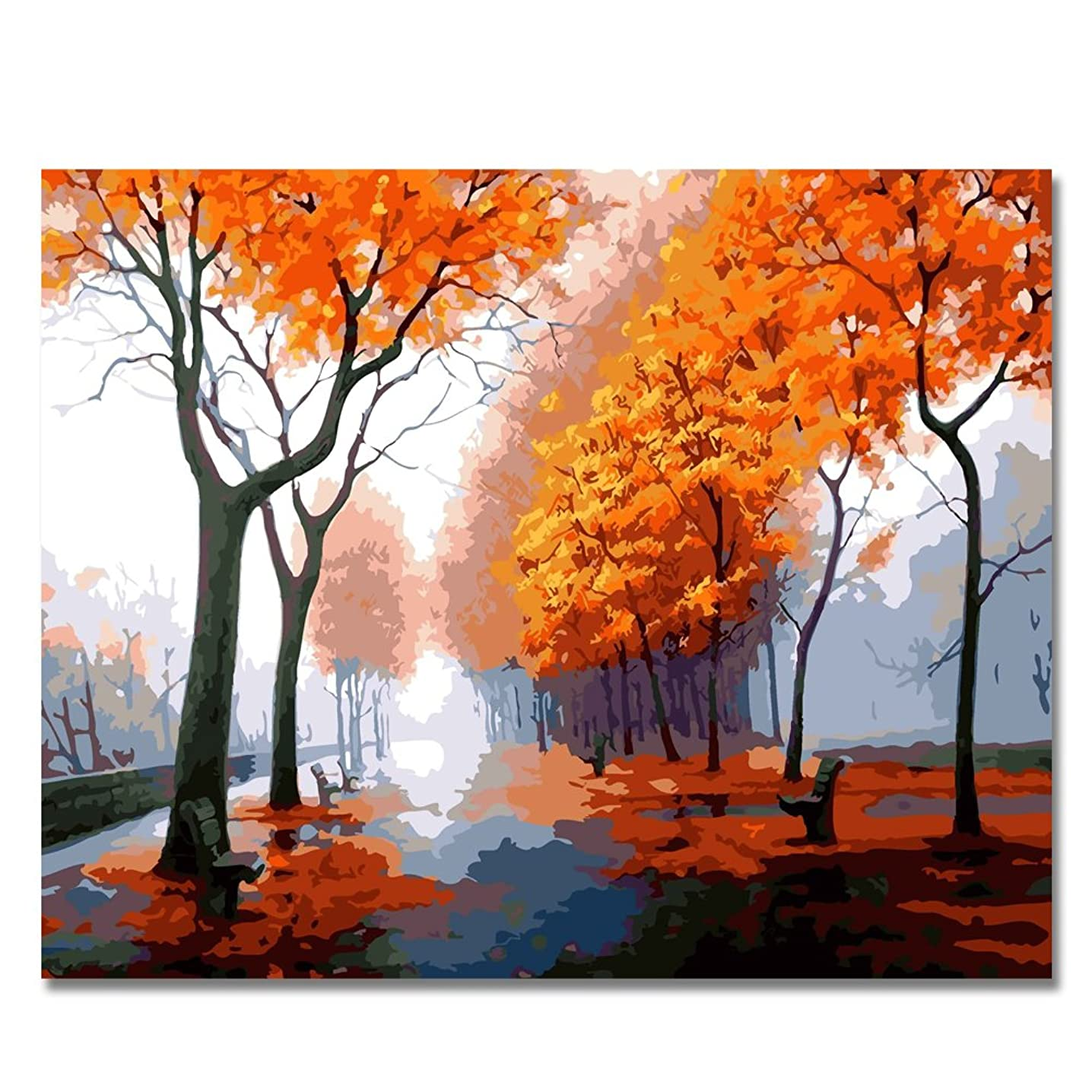 BOSHUN Paint by Numbers Kits with Brushes and Acrylic Pigment DIY Canvas Painting for Adults Beginner- Autumn Scenery 16 x 20 inch(Without Frame)