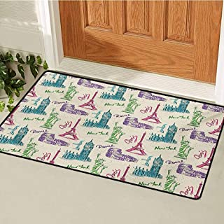 GUUVOR City Inlet Outdoor Door mat Big Ben Eiffel Tower Statue of Liberty Colosseum Doodle Sketch Tourist Attractions Catch dust Snow and mud W23.6 x L35.4 Inch Multicolor