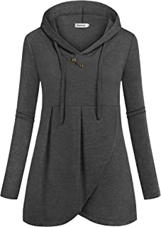 Ouncuty Women Hoodies Long Sleeve V Neck Dressy Pullover Tunic Blouse Sweatshirt