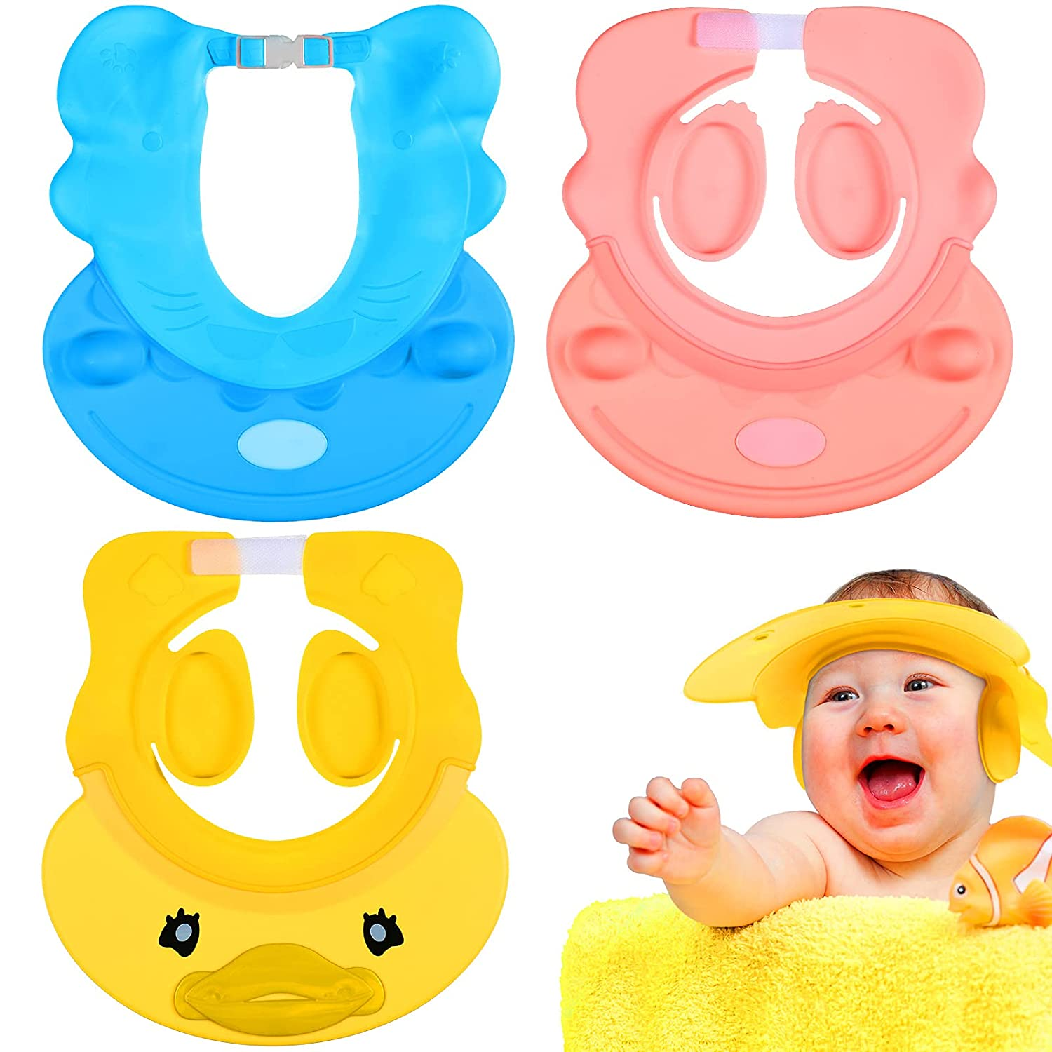 3 Pieces Baby Bathing Cap Silicone Baby Shampoo Cap Baby Shower Cap Waterproof Infant Bath Protection Hat for Babies Toddlers Infants