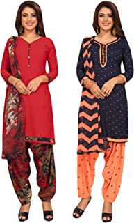 S Salwar Studio Women's Pack of 2 Synthetic Printed Unstitched Dress Material Combo-MONSOON-2866-2868