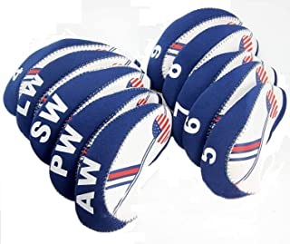 Paddsun Golf White & Blue US Flag Neoprene Patriot? Driver Golf Club Head Cover Wedge Iron Protective Headcover for Titleist, Callaway, Ping, Taylormade, Cobra, Nike, Etc.
