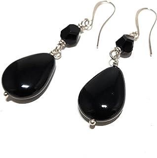 Orecchini con goccia in pietra dura onyx nero