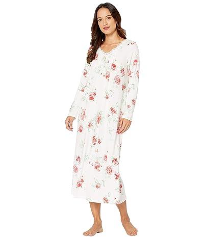 Carole Hochman Petite Soft Jersey Long Sleeve Long Gown (Red Rose) Women