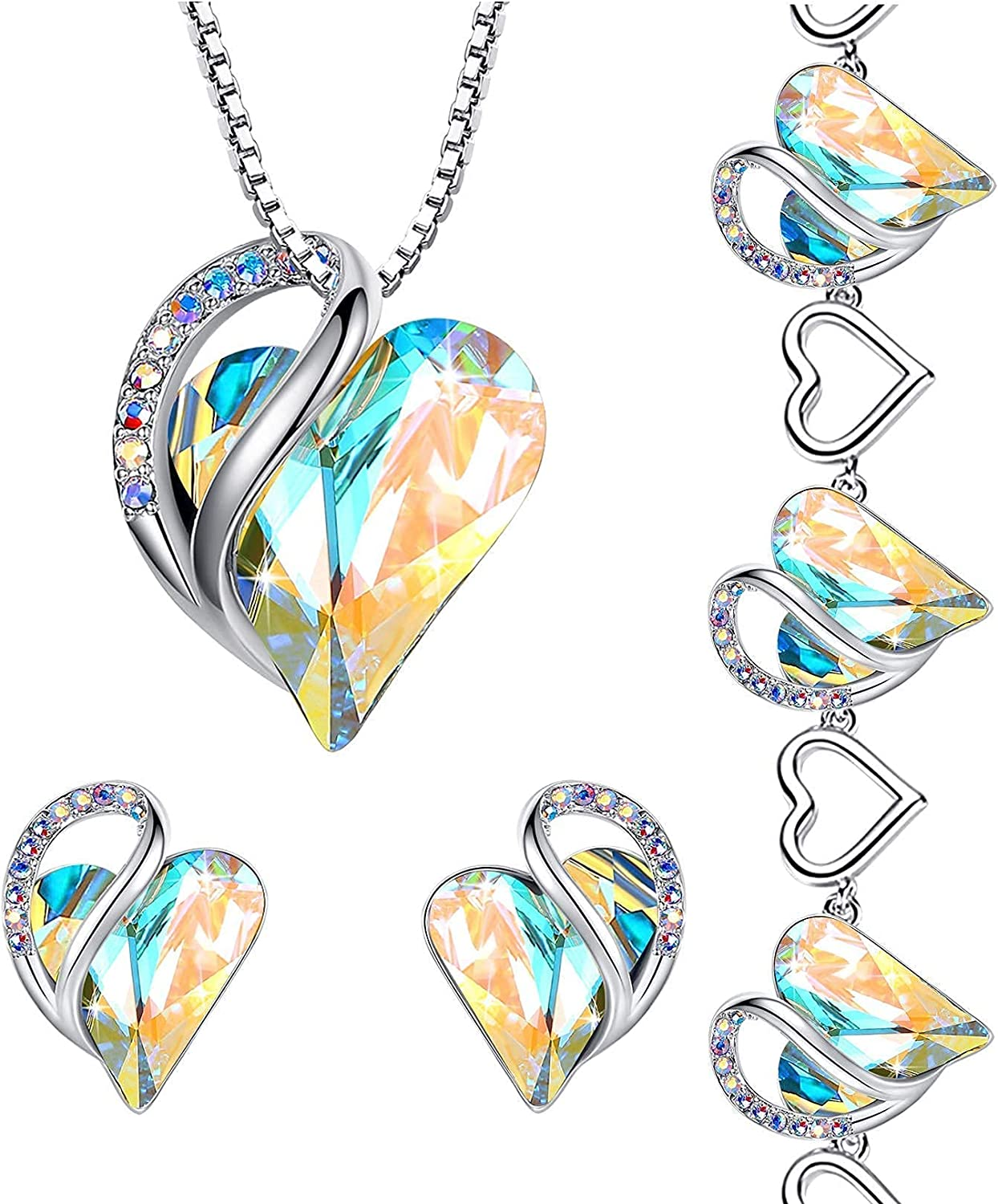 Leafael Infinity Love Crystal Heart Set Jewelry Opal OFFer 67% OFF of fixed price Bundle Whit