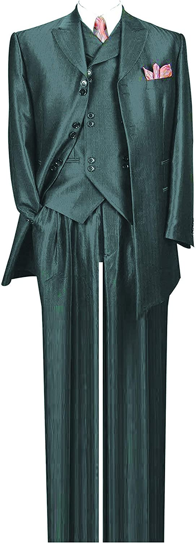 Milano Moda Herring Bone Stripe High Fashion Suit with Vest & Pants 5264