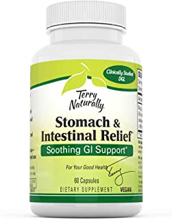 Terry Naturally Stomach & Intestinal Relief - 75 mg Licorice, 3.5% Glabridin - 60 Vegan Capsules - Soothing Stomach & Inte...