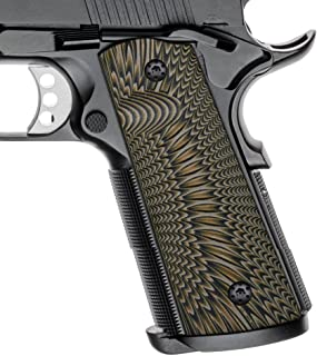 Cool Hand 1911 G10 Grips, Screws Included, Magwell Cut, Full Size (Government/Commander), Sunburst Texture, Ambi Safety Cut