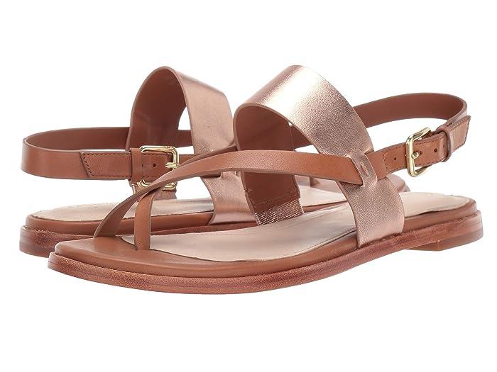 Cole Haan  Anica Thong Sandal (Pecan Rose Gold Metallic) Womens Dress Sandals