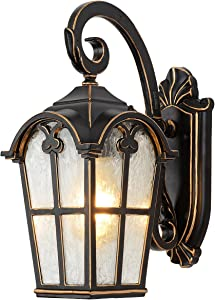 DALKSDCI Outdoor Wall Light Fixture Exterior Wall Mount Porch Lights Waterproof Aluminum with Figured Frosted Glass Wall Lantern Outdoor Wall Sconce for House, Patio, Yards, Front Porch