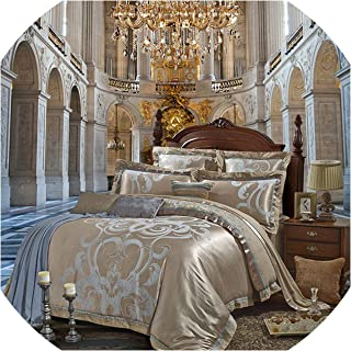 Silver Gold Luxury Silk Satin Jacquard Duvet Cover Bedding Set Queen King Size Embroidery Bed Set Bed Sheet/Fitted Sheet Set,Color 5,King 4Pcs,Bed Sheet Style