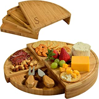 Picnic at Ascot Patented Personalized Monogrammed Engraved Bamboo Cheese/Charcuterie Board with Cheese Knives- Designed & Quality Checked in the USA