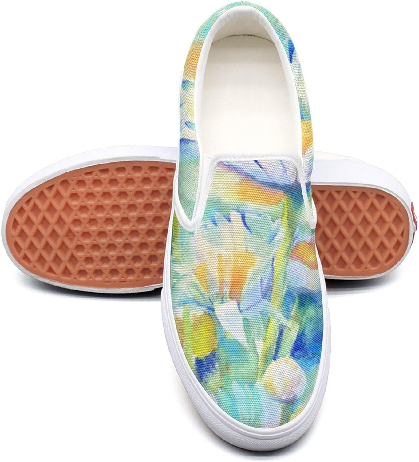 Hjkggd fgfds Casual Watercolor Happy Daisies Floral Women Girls Canvas Sneakers shoes