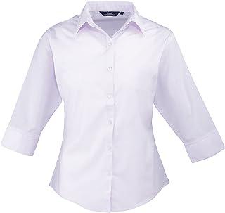 Premier Blusa de mujer, de manga tres cuartos de popelina