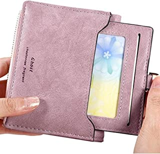Womens Leather Bifold wallet Coin Purse - Detachable Clear ID Window - Compact Card Holder