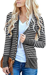 Women s S-3XL Solid Button Front Knitwears Long Sleeve Casual Cardigans e5a1852cd