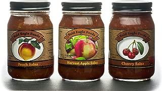 Bald Eagle Foods Cherry, Apple, and Peach Salsa Trio Each Jar is 16 oz