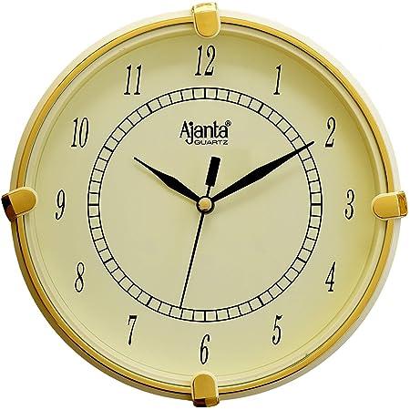 Ajanta Plastic Round Wall Clock (18.8 cm x 18.8 cm x 3.5 cm, Ivory)