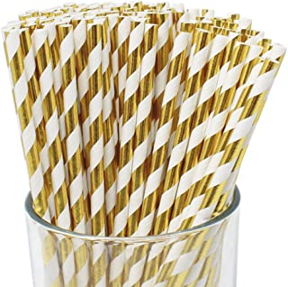 Sponsored Ad - Just Artifacts 100pcs Premium Biodegradable Cocktail Paper Straws (Striped, Gold)