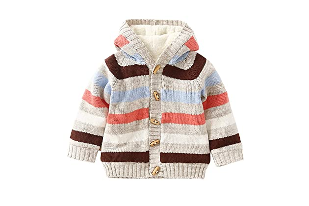 a6dc17b74fc Dealone Baby Toddler Boys Girls Striped Long Sleeve Sweaters Cardigan Warm  Outerwear Jacket
