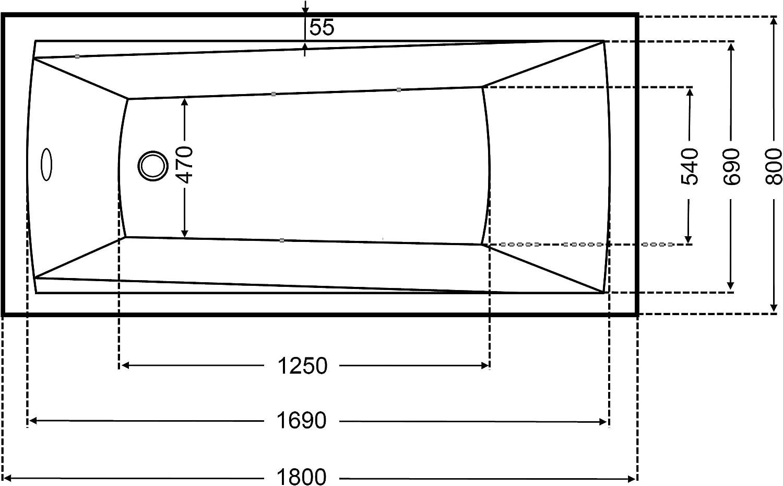 Badewanne Acryl Rechteck 180x80cm wei