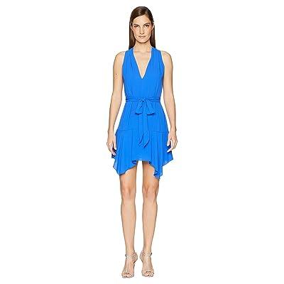 Halston Heritage Sleeveless V-Neck Dress w/ Sash (Sapphire) Women