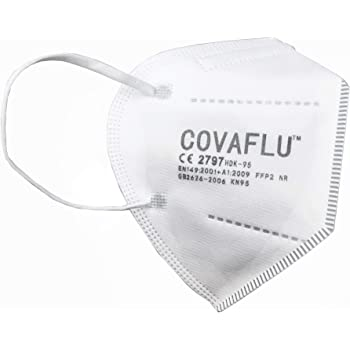 COVAFLU KN95 Disposable Fold Flat Face Mask (Pack of 10 KN95 Face Masks)