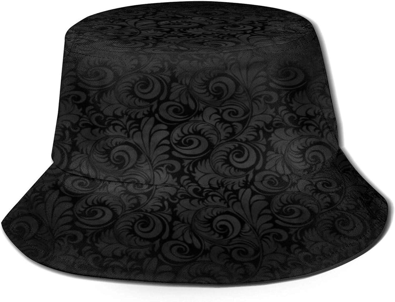 Black Floral Texture Retro Style Bucket Hat Unisex Sun Hat Summer Packable Fisherman Hats Black