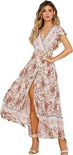 5565129e875 Femmes Sexy Cou V Robes Bohème Wrap Floral Imprimé Style Ethnique Vintage  Haute Maxi Robe Vintage