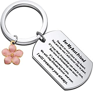 WSNANG Unbiological SisterJewelry for My Best Friend KeychainwithHibiscusFlowerCharm You are So Very Close to My Hear...