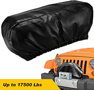 """Seven Sparta Winch Cover Waterproof, Dust-Proof,UV & Mildew-Resistant Universal Winch Protective Cover for Electric Winches Up to 17500 Lbs, 24"""" W x 10"""" H x 7"""" D (Black)"""
