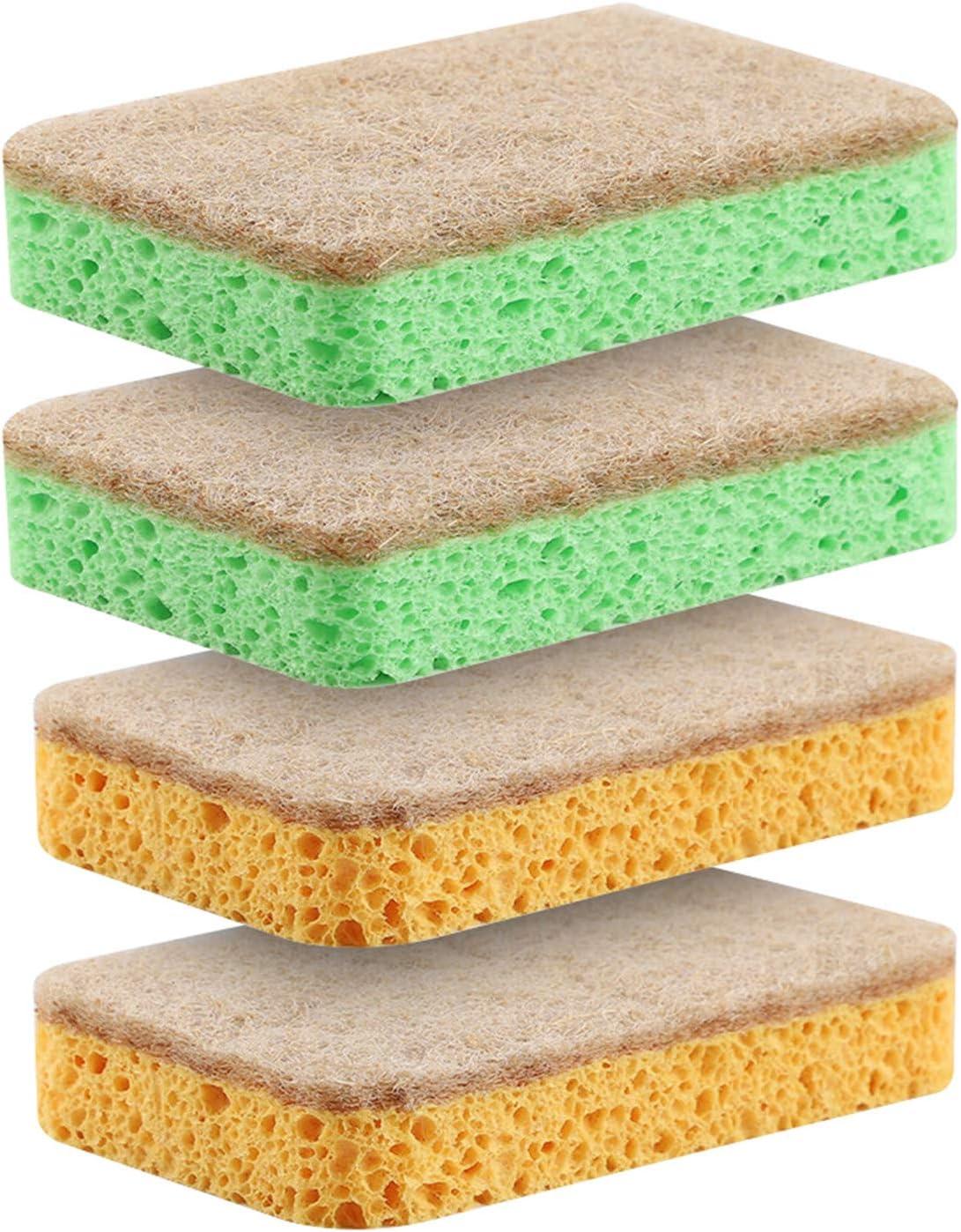zweifarbig 2 Farben Reinigungsschw/ämme 4 St/ück nat/ürliche Zellulose-Schw/ämme kratzfeste Zellulose-Reinigungsschw/ämme Mehrzweck-doppelseitiger Geschirrsp/ülschwamm f/ür K/üche