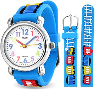 Bling Jewelry Choo Choo Train Waterproof Wrist Watch Time Teacher Quartz 3D Cartoon Blue Silicone Wristband
