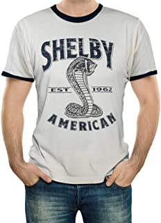 Shelby American Natural and Navy Ringer Tee T-Shirt | Officialy Licensed Shelby Product | 100% Cotton