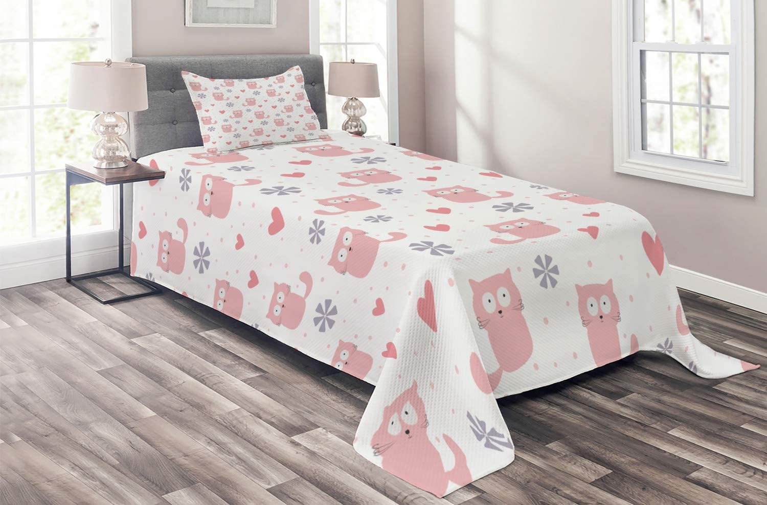 Ambesonne Super Special SALE held Fort Worth Mall Pastel Coverlet Childish Theme Flower Cats and Hearts