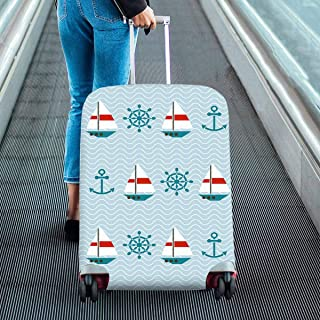 Suitcase Protectors Fit 18-28 Inch Luggage pattern of sailboats Anchors Print on Dust Proof Luggage Covers