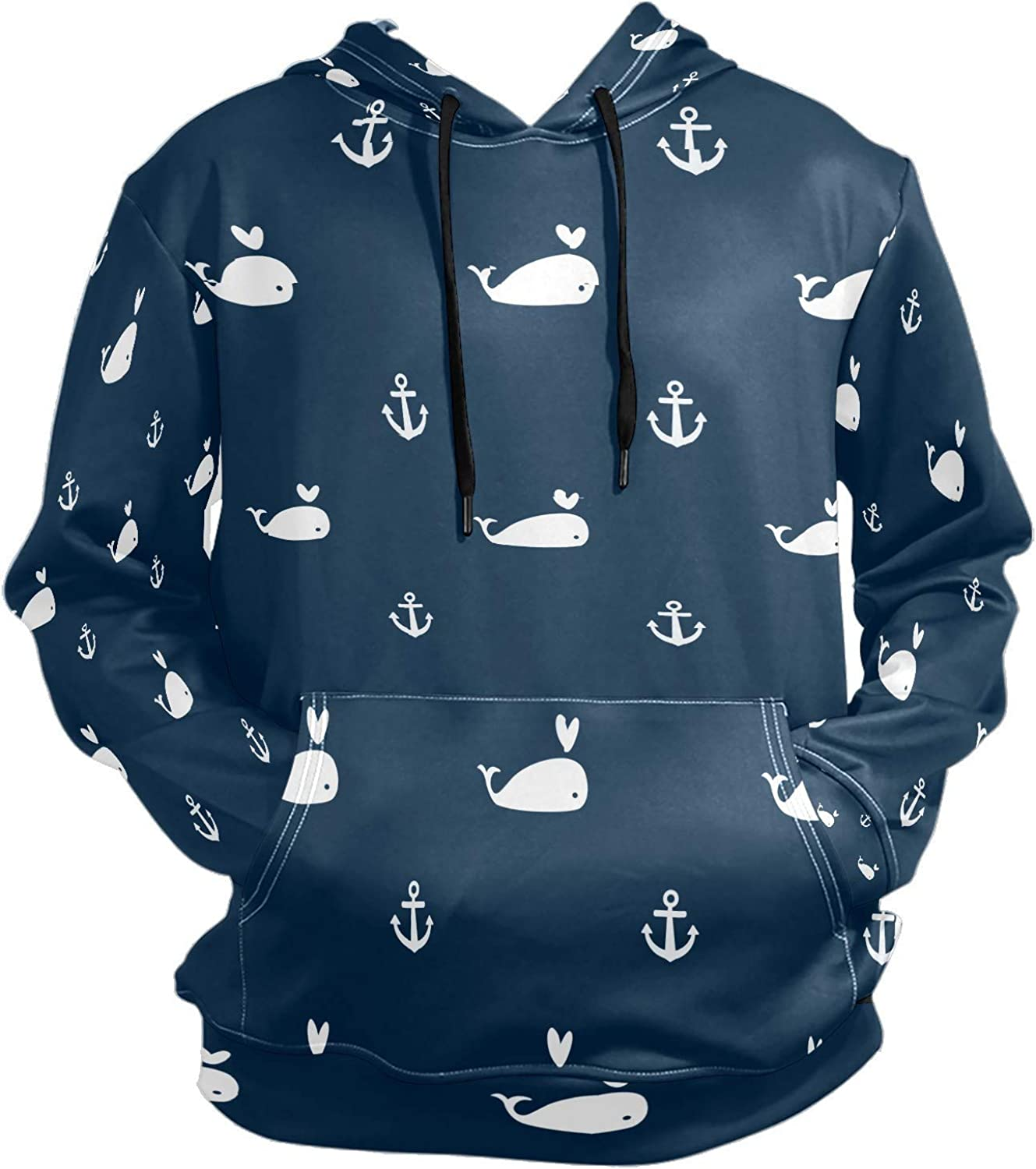 Men's Sport Hoodie Nautical Whale Anchor Navy Blue Big and Tall Hoodies for Men Women Oversized Hooded Sweatshirt Hip Hop Pullover Hoodie Midweight Hood for Boys Girls